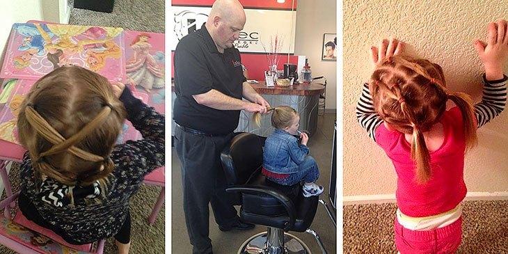 Alenefaren kunne ikke flette datterens hår. Det han gjorde, imponerer alle!