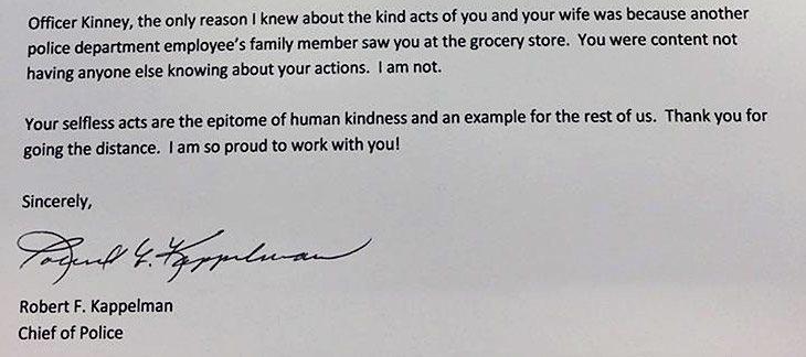 Politisjefens takkebrev