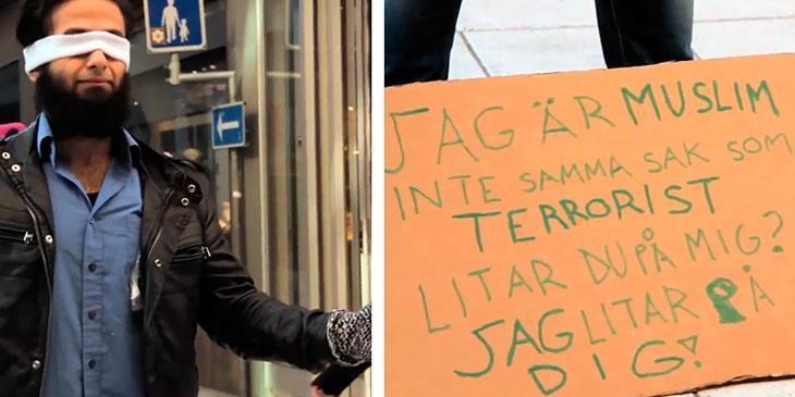 En muslim står med bind for øynene i Stockholm. Jeg blir rørt når jeg ser hva menneskene gjør.