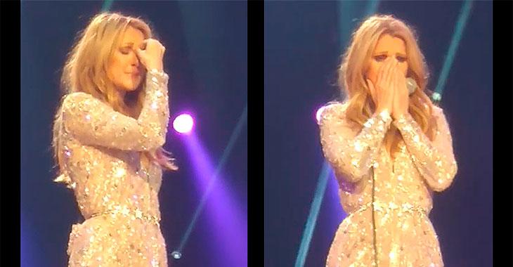 Celine Dion bryter ut i gråt under konsert