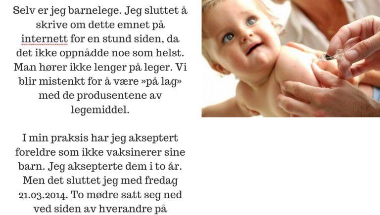 Barnelege avslører hvorfor hun ikke tar i mot foreldre som ikke vaksinerer barna sine.
