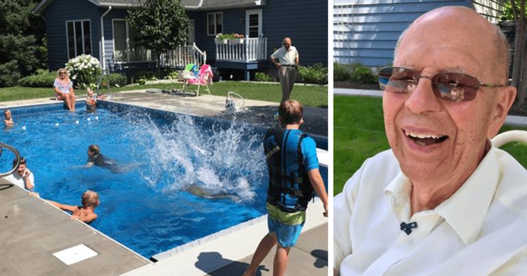 Da den 94-år gamle mannen ble enkemann bygget han et basseng i hagen – Nå er han omgitt av nabolagets barn!